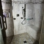 Bench seat in new tile shower